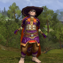 This outfit builds on the orange and rusty gold colours that feature in its components, and ties them together with purple.