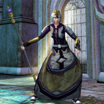 This outfit was purchased for medallions from the In Their Absence instance vendors in Harndirion. It was then customised with gold, purple, and grey dyes.